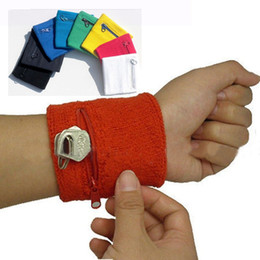 Wholesale Wholesale Cotton Wristband - 8Colors Cotton Zipper Pocket Wrist Band Support Wristband Safety Storage Wallet Wraps Sport Strap Bracers Outdoor Running Cycling Gym 50 Pcs