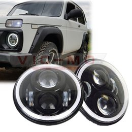 """Wholesale Halo Headlamps - 7"""" Inch Round H4 LED Daymaker Projector Headlights For Jeep Wrangler Lada Niva 4x4 Hummer H1 H2 Halo Angel Eyes DRL Led Headlamp"""
