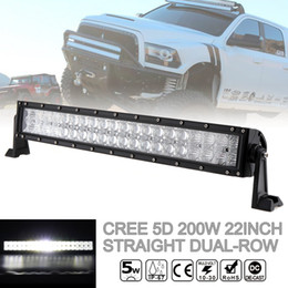 Wholesale 22 Inch Led Light Bars - 22 Inch 200W Car LED Straight Dual-Row Worklight Bar 40x 5D Chips Combo Offroad Light Driving Lamp for Truck SUV 4X4 4WD ATV CLT_42K