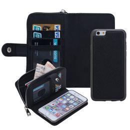 Wholesale Iphone Gel Flip - For iPhone 6 6S Plus Detachable Leather Wallet Case Removable Purse Pouch Flip Card Back Cover Zipper Cell Phone Soft Gel Cases