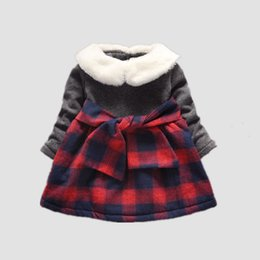 Wholesale Thick Girl Dresses Sleeves - Wholesale- 2017 winter Baby girls new long sleeve Dress Children girls cute patchwork warm thick plaid dress 6-24 months