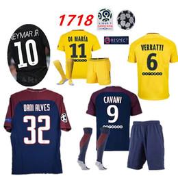 Wholesale Men Saint - NEYMAR JR soccer jerseys kit 2018 paris soccer suit saint kits germain verratti jersey 17 18 Mbappe champions football shirt uniform+socks