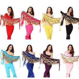 Wholesale Purple Zebra Beads - Wholesale-Belly Dance Hip Skirt Scarf Wrap Gem Waist Belt Gold Coins Coloured Gem & Beads EQD152