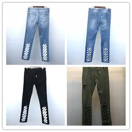 Wholesale Personalized Pop - 2017 New Famous Off White Jeans Men Stylish Personalized Flowers Embroidery Design Pop Vogue Destroyed Ripped Holes Jeans Casual Denim Pants