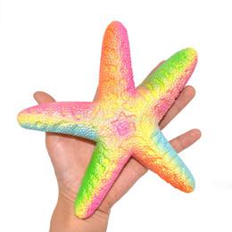 Pane stellato online-Novità 10pz Carino Squishy Starfish Sea Star lento aumento della scatola al minuto Jumbo 18cm cinghie del telefono Crema profumata torta di pane Kid Doll regalo giocattolo