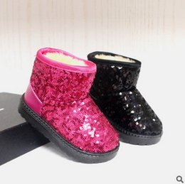 Wholesale Waterproof Snow Boots Wholesale - Glitter felt shoes baby girls boys shining sequins snow boots 2017 fashion children waterproof winter boots kids warm shoes T0148