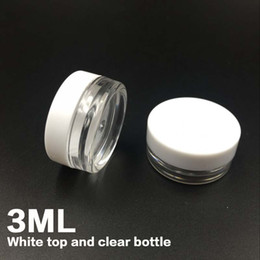 Wholesale Storage Containers Free Shipping - Free shipping White Top 3G Travel transparent round cream pot 3ML jars pot container clear plastic sample container for nail art storage