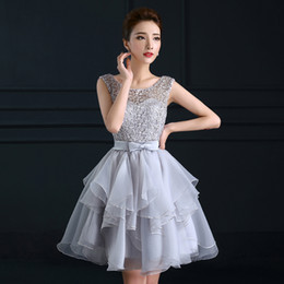 Wholesale Homecoming Dresses Organza - Robe De Soiree New Fashion Bridesmaids Dresses Sweet Short Grey Lace Sleeveless Party Gown Custom Sexy Slim Homecoming Dress