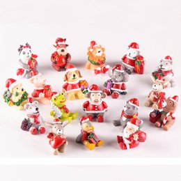 Wholesale Miniature Christmas Ornaments - Mini Garden Miniatures Santa Christmas Decoration 18 Types Resin Craft Artificial Animal Red Hat Home Ornaments with Retail Box Free DHL