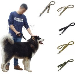 Wholesale Training Pads Dogs - 50X Tactical Military 1000D Nylon US Army Police Dog Training Leash Elastic pet Quick Release Tactical collars Duty for Perro 5 colors #4044