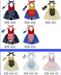 Wholesale Baby Girl Romper Cheap - 2016 sequins baby TUTU skirt 0-4 years girl Dress (Romper + hair band) candy-colored cheap kids summer clothes 10set A30