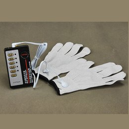 Wholesale Glove Sex - Electric Shock Sex Gloves Body Massage Gloves Pulse Physical Therapy Gloves Sex Game Sex Toy for Couples A16