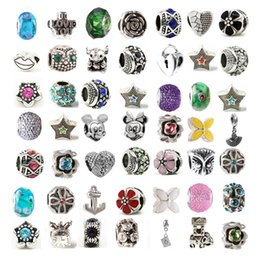 Wholesale Dangling Crystal Bracelet Charms - Hot Mix Alloy Crystal Charm Bead Big Hole Dangle 925 Silver Plated Fashion Women Jewelry European Style For DIY Bracelet Necklace