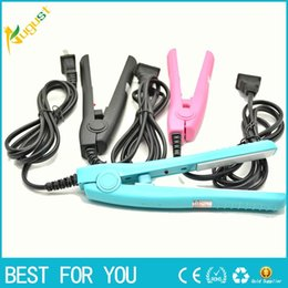 Wholesale Hot Perm Curls - HOT SALE Mini Hair Straightening Irons Practical Portable Ceramic hair straightener Curler Iron straight Curl perm DUAL use