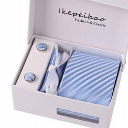 Wholesale Geometric Cufflinks - Mans Amarra Conjuntos Gravata Abotoaduras Lenço Da Marca Personalizado Cinza Prata Verificado Colar Macarrão Corbatas Laços para o Negócio