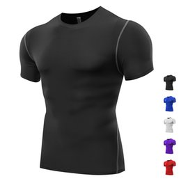 Wholesale Ripped Shorts For Men - 2016 New Fashion Men Sport Jerseys Short Sleeve Tshirt for Running Gym Training Wear Baselayer Fitness Tee Tops Compression T Shirt Men B003