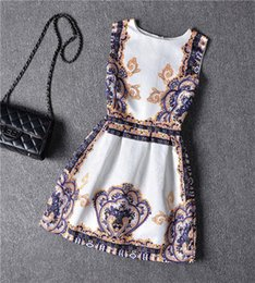Wholesale Korea Painting - Girls Dress Floral Printed Short Sleeve Dresses Korea Fashion Clothes Painting 2015 Brand New Mini Princess Big Size 8Y-16Y 2016 New Arrival