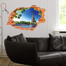 Wholesale Wall Stickers Paris - Paris Tower blue sky broke wall art creative stickers 3d effect vinyl decals home decoration living room wallpaper 60*90cm