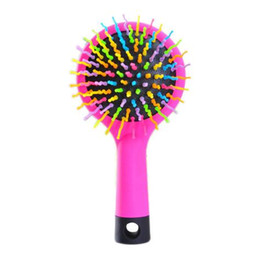 Wholesale Magic Perm - Makeup Rainbow Volume S Brush Hair Curl Magic Accessory Perm Wave Straight Beauty Comb with Mirror