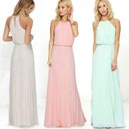 Wholesale Light Pink Women S Dresses - Summer Women Bohemia Pink Light Green Sleeveless Casual Dress Pleated Fashion Sexy Maxi Long Dress Women Clothing