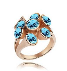 Wholesale Swarovski Rings Rose Gold - Crystal Rings Rose Gold Color Swarovski For Women Good Quality Mix Colors Fashion Jewelry Korean Style Hot