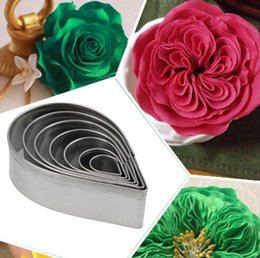 Wholesale Metal Pastry Biscuit Cake Cookie - New Arrive 7pcs set Kitchen Baking Mold Fondant Party Wedding Decor Water Droplet Rose Petal Cookie Cake Cutters Biscuit Pastry Mould Cute