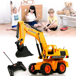 Wholesale Toys Electronic Truck - Wholesale- 25cm 1PCS RC Excavator Electric Remote Control Constructing Truck Crawler Digger Model Electronic Engineering Truck RC Toy