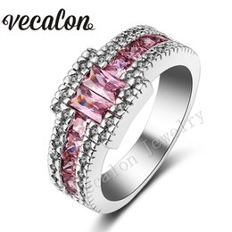 Wholesale Diamond Cut Ring Men - Vecalon Men Engagement Band ringPincess cut pink sapphire Simulated diamond 10KT White Gold Filled Wedding Ring for Men Sz 7-13