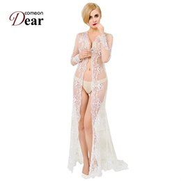 Wholesale Sex Wedding - Comeondear Women Bridal Princess Long Sex Lace Robe Dress Bathrobes White Lace Embroidery Wedding Robe Lingerie Sleepwear
