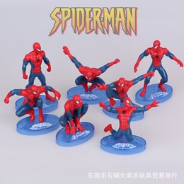 Wholesale Spiderman Models Kids - 2016 high quality 7styles Spider-Man kids mold toy ormanent superhero spiderman model set Marvel's The Avengers cake doceration doll toy 91y