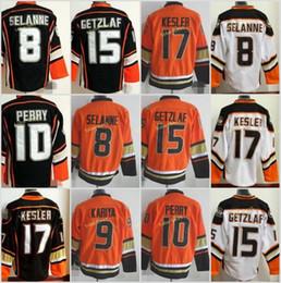 Wholesale Ice Hockey Jersey Ducks - Anaheim Ducks 2017 15 Ryan Getzlaf 8 Selanne 10 Perry 17 Kesler 9 Kariya Black White Orange Hockey Jerseys