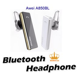 Wholesale Ear Phones Package - Original Awei A850BL Stereo Bluetooth 4.0 Headset Business Man Wireless Headphone Sports In-ear Earphone with gift package for Mobile Phone