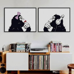 Wholesale Funny Pictures Print - Nordic Black White Hippie Chimpanzee Gorilla Couple A4 Art Print Poster Funny Wall Picture Canvas Painting No Frame Home Decor