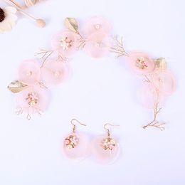 Wholesale Wedding Hair Wreaths - Wedding Bridal Bridesmaid Handmade Pink flowers Earrings Jewelry Set Tourism Vacation Tiaras Headband Wreath Headdress Hair Accessories 2018