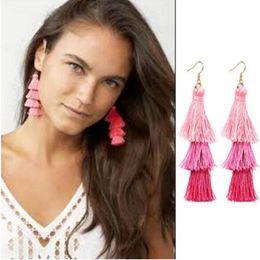 Wholesale National Wholesale - Creative colorful Bohemian national style tassel long earrings three layers gradient ramp earrings fish ear hook earrings