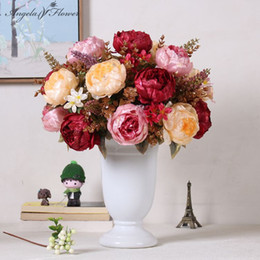 Wholesale Gold Artificial Wedding Bouquets - 1 Bouquet Luxury Artificial Rose Gold Ornament Silk Peony Flower Bouquet With Spica Wedding Decoration Home European Style