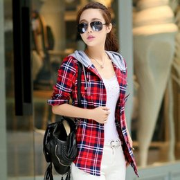 Wholesale Checked Slim Fit Shirt - New Arrival 2016 Autumn Cotton Long Sleeve Red Checked Plaid Shirt Women Hoodie Casual Fit Blouse Plus Size Sweatshirt