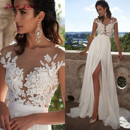 Wholesale Vintage Western Pictures - Sexy Chiffon Lace Appliques A-line Wedding Dresses Plus Size Bridal Wedding Gowns Country Western Beach Wedding Dress 2017 robe de mariage