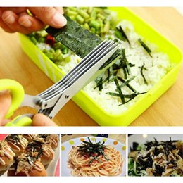 Wholesale Scissors Herbs - 110pcs Multi-functional Stainless Steel Kitchen Knives 5 Layers Scissors Sushi Shredded Scallion Cut Herb Spices Scissors ZA0366