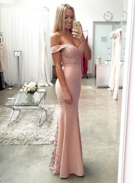 Argentina Nueva Blush Pink Vestidos de dama de honor atractivos Sexy Mermaid Lace Long 2019 Vestidos de boda formales / Vestidos de fiesta de noche supplier blush pink wedding evening gown Suministro