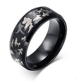 Wholesale Tungsten Comfort Fit Wedding Bands - Tungsten Ring Black Camo Hunting Camouflage Polished Beveled Edge Outdoor Comfort Fit Wedding Bands Camouflage Engagement Band