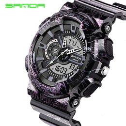 Wholesale Purple Watch Mens - Mens Watches 2017 SANDA Fashion Watch Men G Style Shock Military Waterproof Wristwatches Luxury Analog Digital Sports Watches