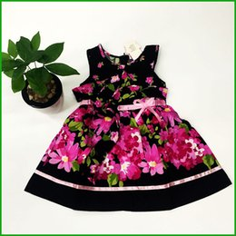 Wholesale Girls Chinese Silk Dresses - hot selling cheap price floral flower print girls dresses fashional Chinese Style children ggirls vestidos sleeveless bow dress clothing