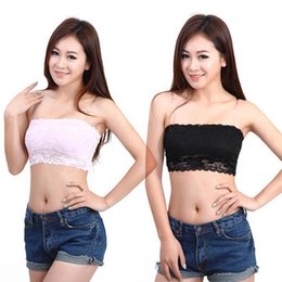 Wholesale Girls Boob Tube - Wholesale-Women Sweet Girls Lace Floral Stretch Strapless Bandeau Bra Boob Tube Top Base Vest