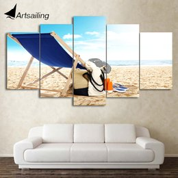 Wholesale Clothing Paint Spray - HD Printed 5 Piece Canvas Art Beach Painting Clothes Framed Wall Pictures Decor Framed Modular Painting Free Shipping CU-2079C