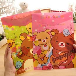 Wholesale Japanese School Bag Wholesale - Wholesale-2PCS Kawaii Japanese Rilakkuma Bear Series A4 Document File Bag A4 Folder Filing Supplies for School Office