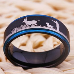 Wholesale Engraved Design - Shardon Deer Hunting Scene Ring Matte Black With Blue Step Tungsten Ring Comfort Fit Design Men's Wedding Ring free engrave