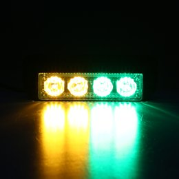 Wholesale Led Emergency Vehicle Light Wholesale - Auto Led Light,4 LEDs 4W Law Enforcement Emergency Hazard Warning Flashing Car SUV Truck Vehicle Construction LED(Yellow & Green)