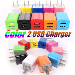 Wholesale Double Usb Chargers For Phones - Wall Chargers Double USB Port Home AC Charger 1A Adapter For Iphone 6S Plus Samsung Galaxy S7 Mobile Phones