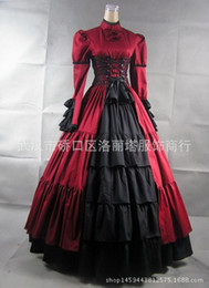 Wholesale Victorian Costumes Women - Wholesale-Gothic Lolita dress halloween costume for women adult princess belle blue Victorian Southern ball gown victorian dress V022
